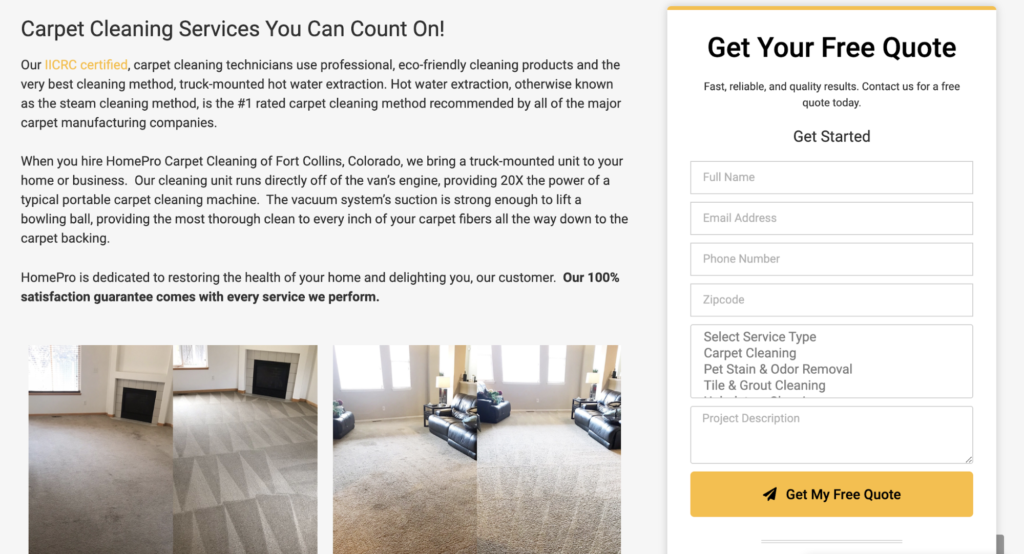 carpet cleaning contact form