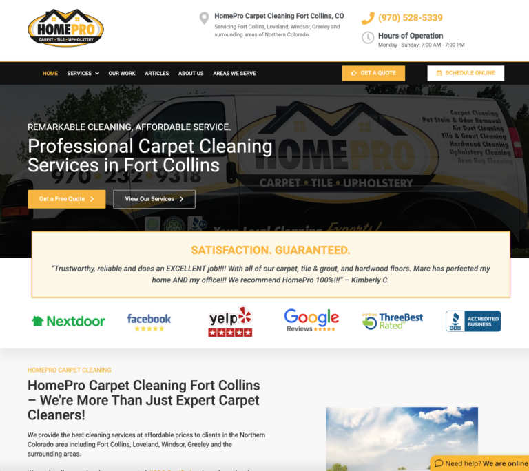 homepro carpet cleaning website