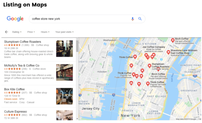 listing on google maps