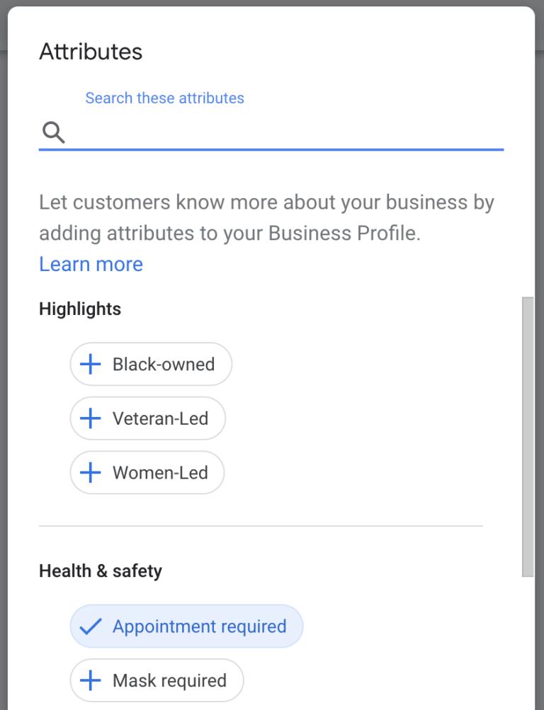 google my business attributes list