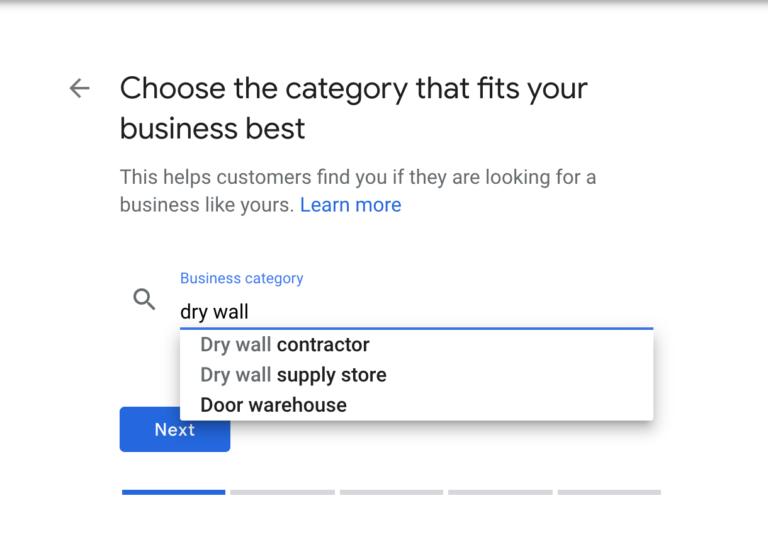 google my business main category
