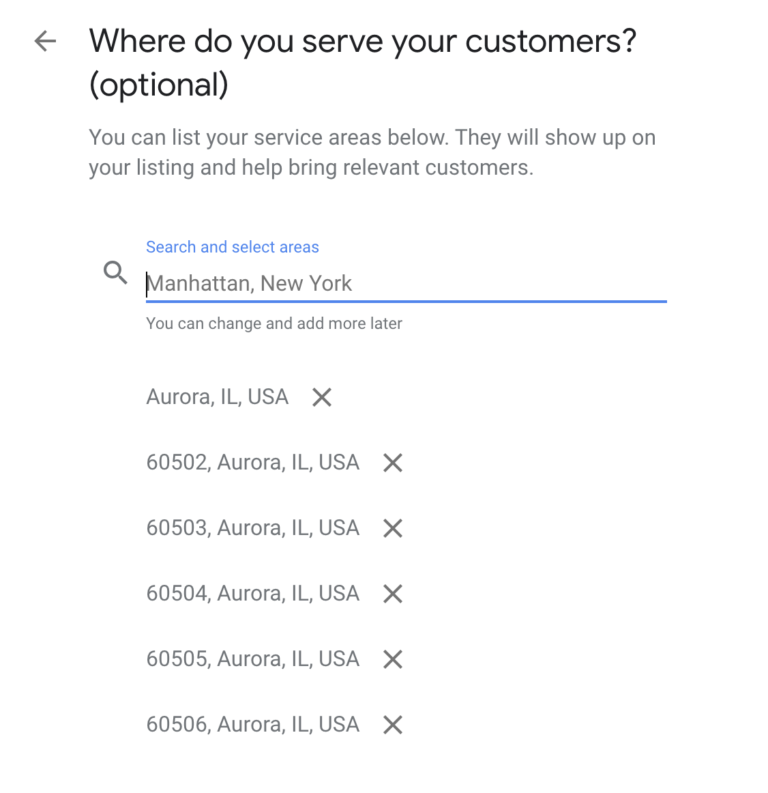 google my business service areas