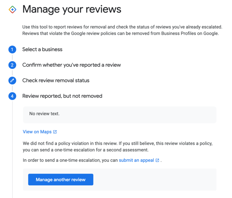google-my-business manage reviews report status
