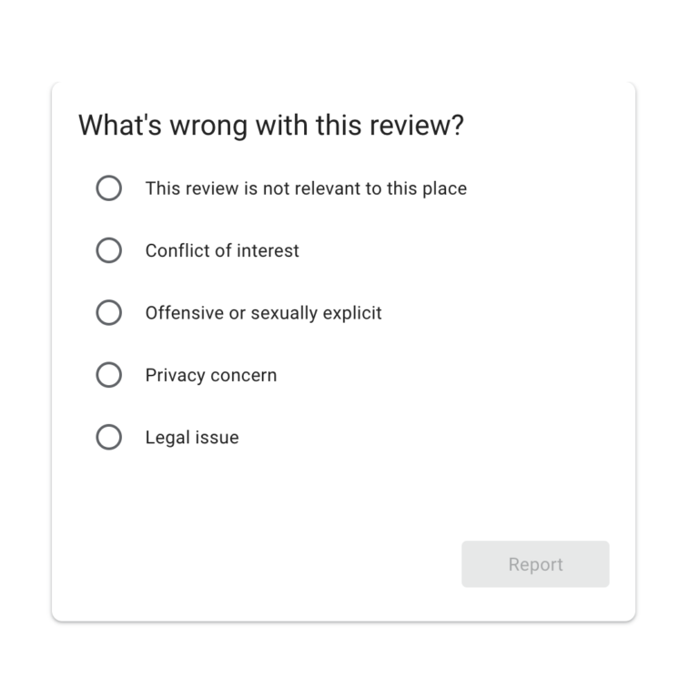 google my business report review