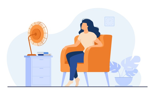 woman conditioning air home cool sitting at fan